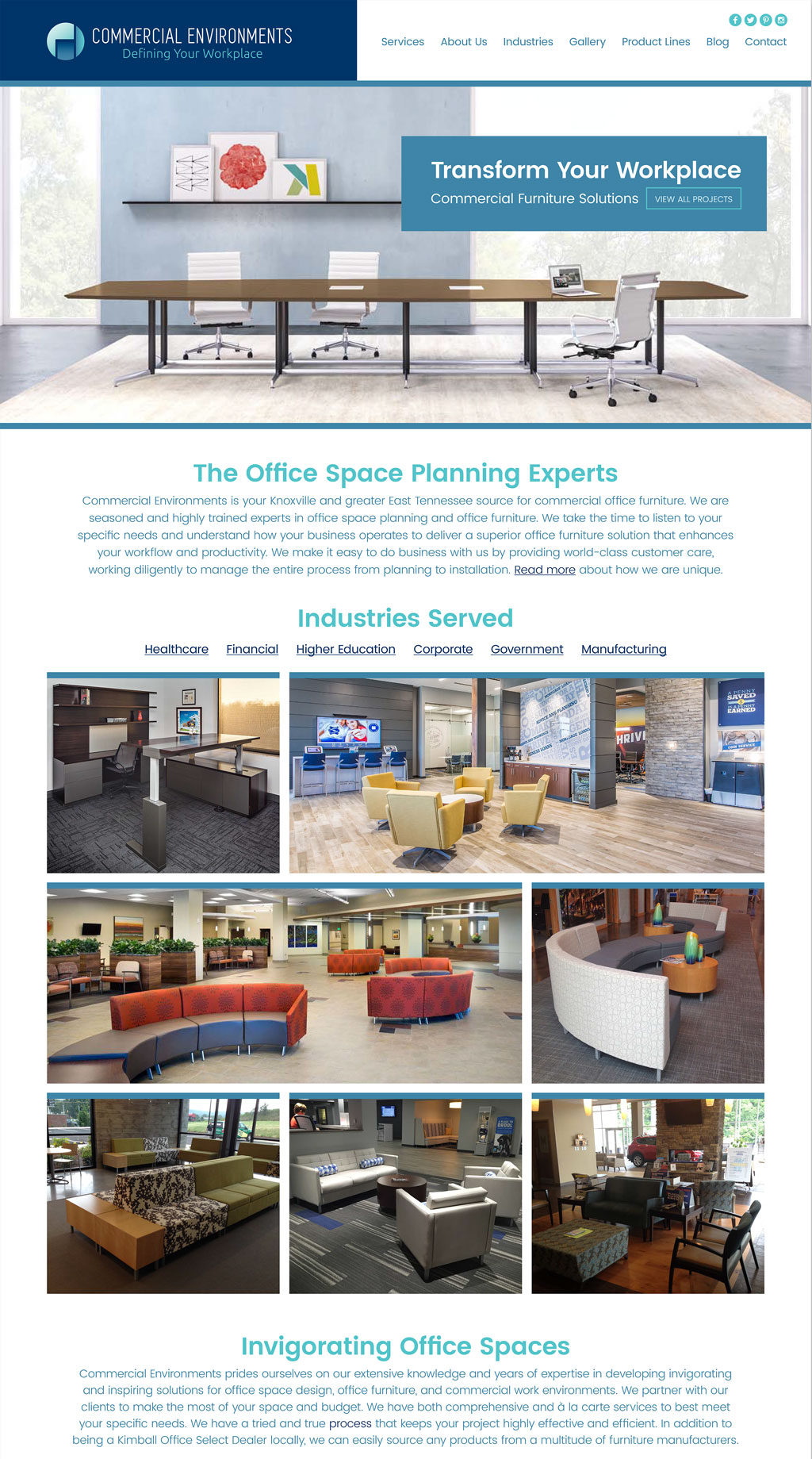Commercial Environments needed a clean, design driven informational website
