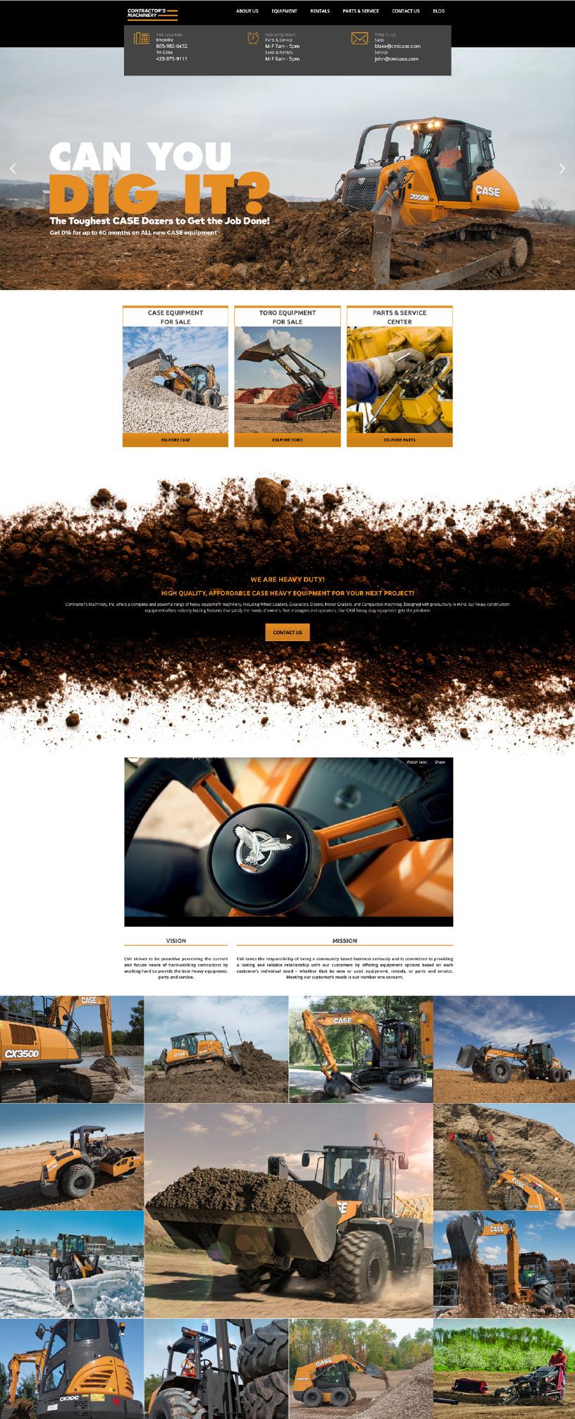 Contractor's Machinery, Inc. website redesign